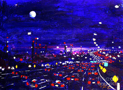 Painting - Night Traffic In New Jersey by Vladimir Kozma