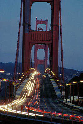 World War 2 Action Photography Royalty Free Images - Night Traffic on Golden Gate Royalty-Free Image by Carl Purcell