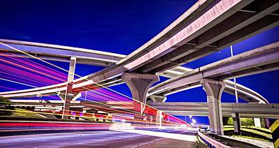 Photograph - Night Traffic With Light Trails On Highway Interchange by Alex Grichenko