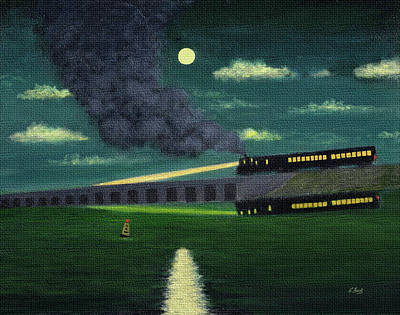 Contemporary Seascape Art Painting - Night Train by Gordon Beck