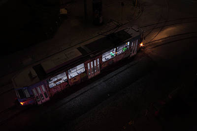 Photograph - Night Tram In Sofia by Alfio Finocchiaro