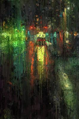 Digital Art - Night Tram by Yury Malkov