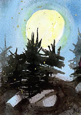 Pine Trees Mixed Media - Night Trees by Tonya Doughty