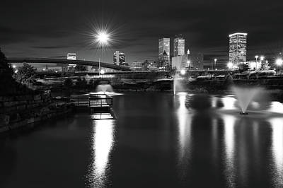 Photograph - Night Tulsa Skyline - Centennial Park Reflections - Black And White by Gregory Ballos