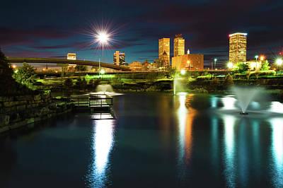 Photograph - Night Tulsa Skyline - Centennial Park Reflections by Gregory Ballos