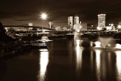 Photograph - Night Tulsa Skyline - Centennial Park Reflections - Sepia by Gregory Ballos