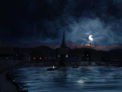 Painting - Night Upon The Village by Dick Bourgault