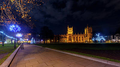Photograph - Night View Across Collage Green Of Bristol Cathedral At Christmas by Jacek Wojnarowski