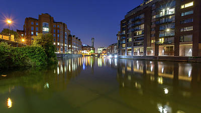 Photograph - Night View Across River Avon To Temple Bridge Bristol England by Jacek Wojnarowski