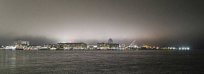 Photograph - Night View Ocean City Downtown Skyline by Robert Banach