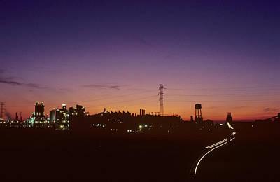 Night View Of An Industrial Plant Art Print by Kenneth Garrett