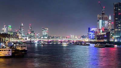 Photograph - Night View Of Blackfriars Bridge London by Jacek Wojnarowski