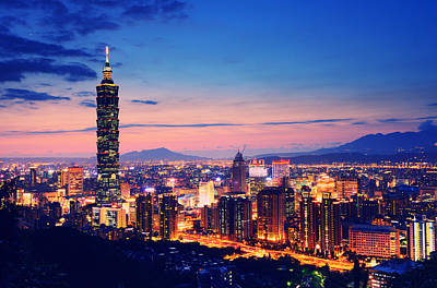 Taipei Photograph - Night View Of City And Taipei 101 by Joyoyo Chen