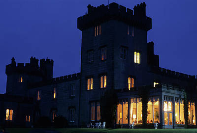 Night View Of Dromoland Castle Art Print by Carl Purcell