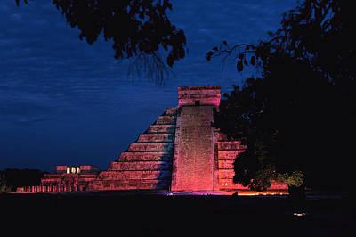 Night View Of El Castillo Print by Steve Winter