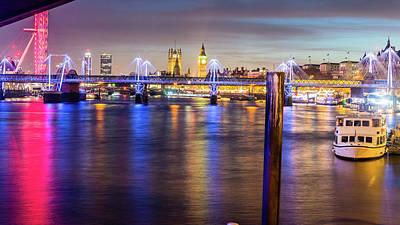 Photograph - Night View Of Hungerford Bridge And Golden Jubilee Bridges London by Jacek Wojnarowski