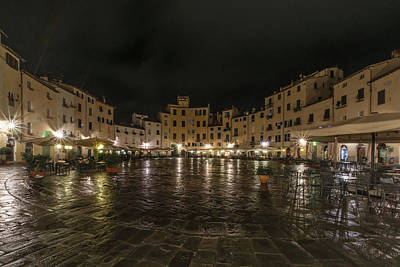 Luminaire Photograph - Night View Of Piazza Dell'anfiteatro, Italy by Sanchez PhotoArt