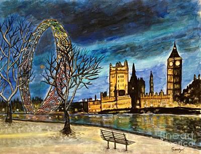 London Eye Mixed Media - Night View Of River Thames, London, Uk by Jo lan Tao