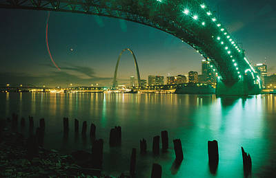 City Life Photograph - Night View Of St. Louis, Mo by Michael S. Lewis