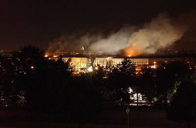 Virginia Ruins Photograph - Night View Of The Pentagon by Everett