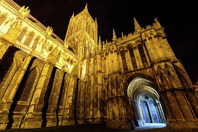 Photograph - Night View Over Lincoln Cathedral A by Jacek Wojnarowski