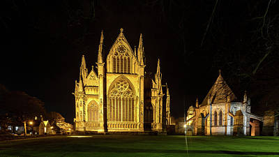 Photograph - Night View Over Lincoln Cathedral B by Jacek Wojnarowski