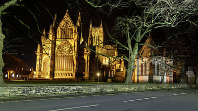 Photograph - Night View Over Lincoln Cathedral C by Jacek Wojnarowski