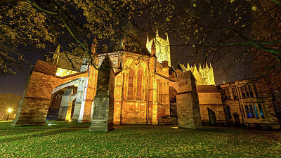 Photograph - Night View Over Lincoln Cathedral D by Jacek Wojnarowski