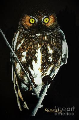 Owl Painting - Night Vigil by Kevin Ballew