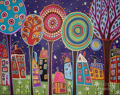 Primitive Art Painting - Night Village by Karla Gerard