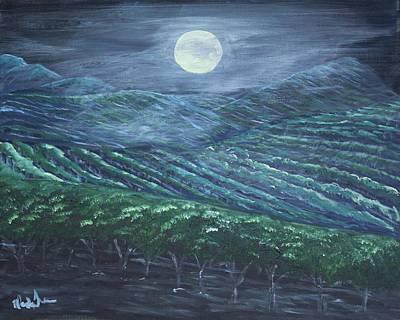 Night Vineyard Art Print by Wanda Turner