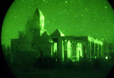 Night Vision Mosque Kandahar Art Print by Thomas Michael Corcoran