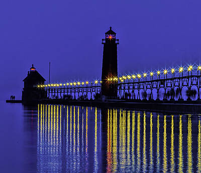 Photograph - Night Walk At Grand Haven Light by Nick Zelinsky