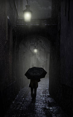 Night Walk In The Rain Art Print