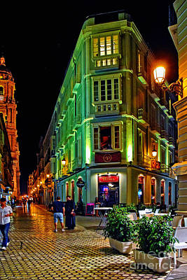 Night Walk - Malaga Spain Art Print