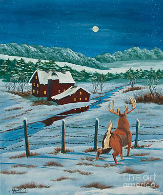 Barn Poster Painting - Night Watch by Charlotte Blanchard