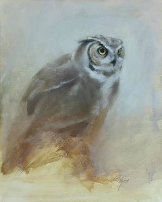 Painting - Night Watch - Great Horned Owl by Neil Rizos