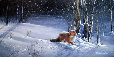 Night Watch - Red Fox Original by Anthony DiNicola