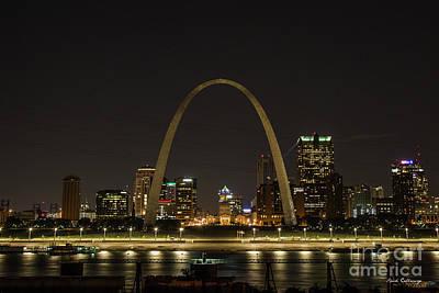 Photograph - Night Watch Rebuild The Gateway Arch St Louis Missouri Art by Reid Callaway