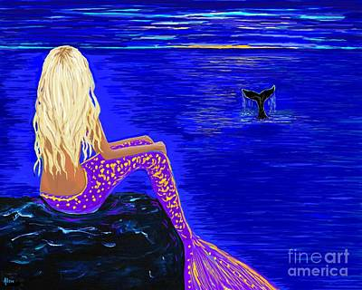 Painting - Night Whale Watcher by Leslie Allen
