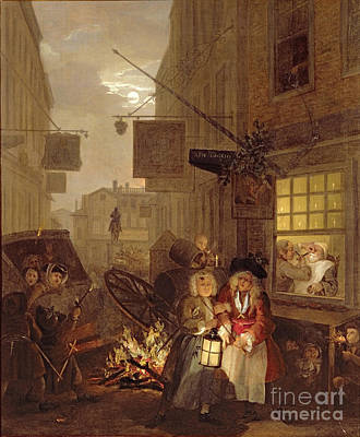 Village Scene Painting - Night by William Hogarth