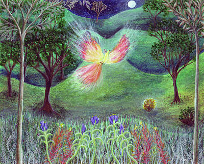 Painting - Night With Fire Bird And Sacred Bush by Lise Winne