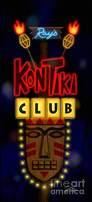 Neon Mixed Media - Nightclub Sign Rays Kon Tiki Club by Shari Warren