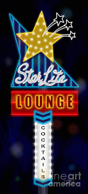 Cocktails Mixed Media - Nightclub Sign Starlite Lounge by Shari Warren