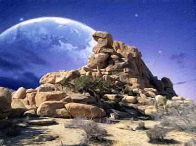 Nature Mixed Media - Nightfall At Dragon Rock by Snake Jagger