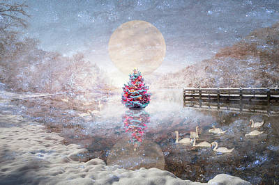Photograph - Nightfall At The Lake On Christmas Eve by Debra and Dave Vanderlaan