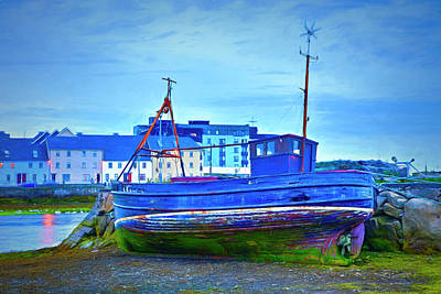 Photograph - Nightfall At The Port In Galway Painting by Debra and Dave Vanderlaan