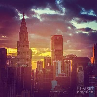 Thomas Kinkade Royalty Free Images - Nightfall in New York Royalty-Free Image by Miriam Danar