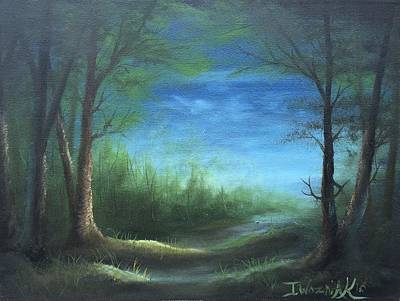 Painting - Nightfall In The Boggs  by Paintings by Justin Wozniak