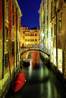 Historic Architecture Photograph - Nightfall In Venice by Andrew Soundarajan